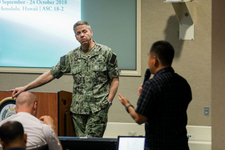 Commander, U. S. Indo-Pacific Command Adm. Phil Davidson speaks to Fellows Oct. 16.