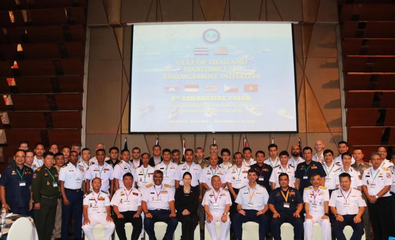 Participants from the United States, Cambodia, Indonesia, Malaysia, Philippines, Thailand and Vietnam gather for a photo during the Gulf of Thailand Maritime Initiative 6th Commanders' Forum in Bangkok, Thailand. (Photo by THAI-MECC).
