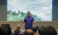Adm. Karl Schultz provides a keynote presentation Aug. 21 on the challenges of the U.S. Coast Guard mission to CMSC 19-1.
