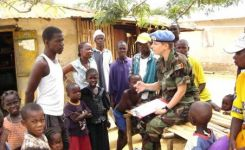 UN Peacekeeper with Children