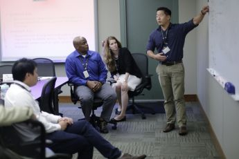 Fellows engage in discussion on issues related to regional security dynamics during an Asia-Pacific Orientation Course 16-3 seminar session at the Daniel K. Inouye Asia-Pacific Center for Security Studies Sept. 12.