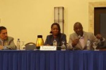 Dr. Boris Saavedra and panelist during Kingston, Jamaica seminar.